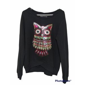 NWT Rebellious One Sequin Owl Sweater Size Small